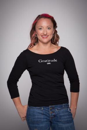 Woman wearing Gratitude Boat Neck Shirt