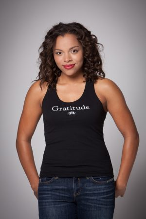 Woman wearing Gratitude Racer Back Tank Top