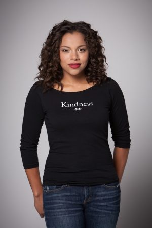 Woman wearing Kindness Boat Neck Shirt