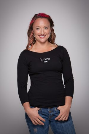 Woman wearing Love Boat Neck Shirt