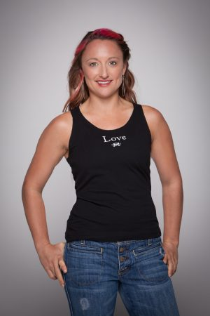 Woman wearing Love Racer Back Tank Top